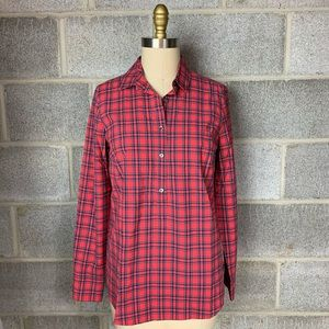 J Crew Shirt Red Plaid Button Down Popover Collar
